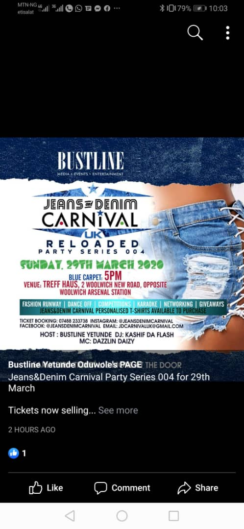 Bustline Yetunde storms UK with Jeans & Denim Carnival