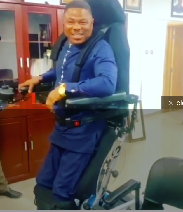 Ayefele Expresses Hope To Stand Up Again, As He's Gifted A Standing Wheel Chair